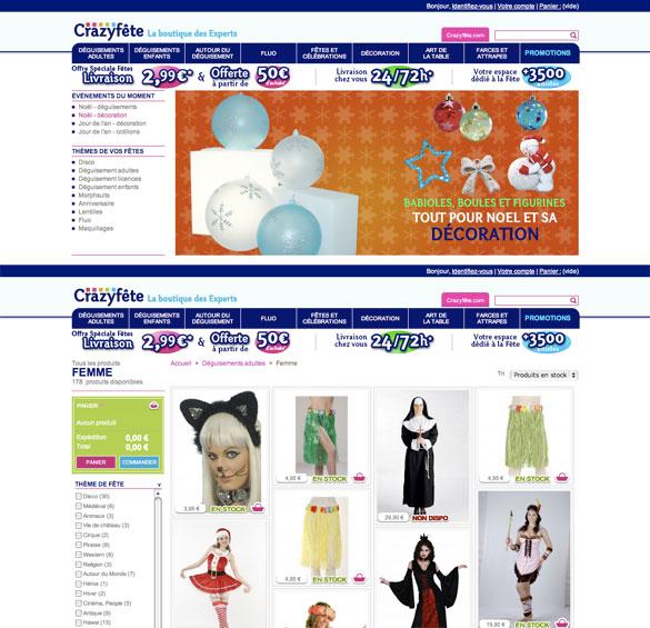 Boutique en ligne des magasins Crazyfête